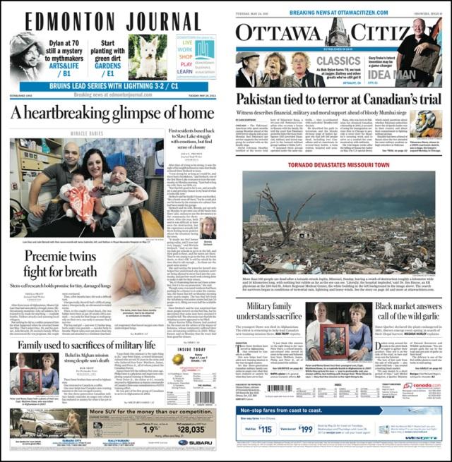 Edmonton Journal and Ottawa Citizen A1 May 24, 2011