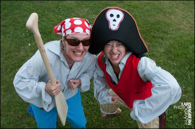 L2R: Pam Staples and Shelly Hirstwood pose for a picture at the Town Park after the Gananoque Pirate Parade on July 15, 2011. Photo by Lars Hagberg for the Gananoque Reporter