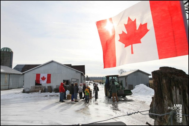 Protesters stand on Frank Meyers farm during the protest in Quinte West, Ont., on Tuesday January 14, 2014. Farmer Frank Meyers signed an expropriation agreement with the Department of National Defence but says he was never given a choice. The land will be used for JTF2 new training facility based out of CFB Trenton. Lars Hagberg for the Globe and Mail