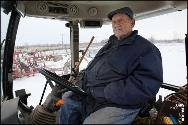 Farm Frank Meyers sits in his tractor in Quinte West, Ontario, on Monday on January 13, 2014. Meyers has signed an expropation agreement but says that the Government's lawyers never gave him a choice. The land that the farm sits on will be used for JTF2 new traing facility. Lars Hagberg for the Globe and Mail