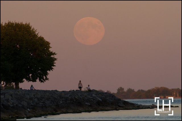 The harvest moon rises over Lake Ontario as people walk along the shore line in Kingston, Ont., on Monday Sept. 8, 2014. This in the third super moon this lunar calendar. Lars Hagberg/THE CANADIAN PRESS